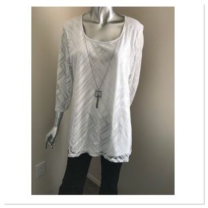 White Blouse with Detachable Necklace, NWOT